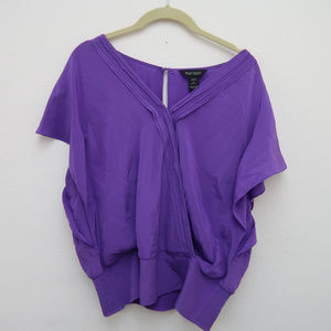 WHBM Purple Silk Elastic Waist Baggy Blouse